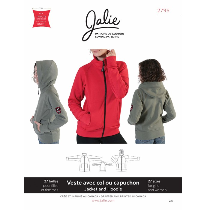 J2795 ZIP-FRONT JACKET AND HOODIE PATTERN