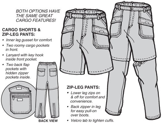 GP524 CARGO SHORTS & ZIP LEGS PATTERN