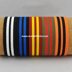 "1-1/4"" Striped Cotton and Acrylic Belt Webbing @ $4.50/ yard"